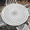 Weißes Alice 120cm Rundes Aluminium Gartenmöbelset - 1 Weißer ALICE Tisch + 4 Weiße MARY Stühle