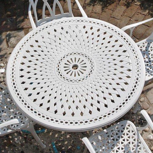 Weißes Alice 120cm Rundes Aluminium Gartenmöbelset - 1 Weißer ALICE Tisch + 4 Weiße JANE Stühle