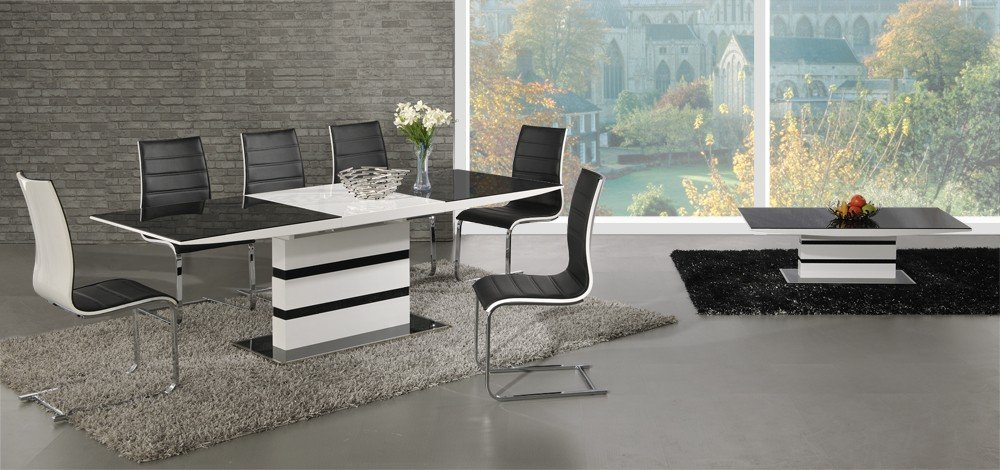 Arctic Black Glass And White High Gloss Extending Dining Table   Extending  Function   Contemporary   Italian Dining   Table And 6 Encore Chairs: ... Part 79