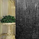 Fadenvorhang, Fadenvorhang Glitzer weiss 100 x 200 cm Wandvorhang Schaufensterdekoration, Dekorative Gardine Raumteiler Fliegenschutz für Hochzeit, Café, Restaurant (Schwarz)