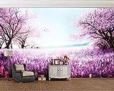 HHCYY 3D Wandbilder Lila Romantischen Lavendel Kirschbaum Kleine Frische Landschaft Wandbild Hintergrund Wand Papier Wohnkultur120cmx100cm