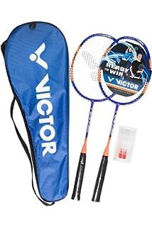 Rot//Blau 2X V-3100 // Racketbag // 3X Nylonball blau//rot VICTOR Premium Badminton Set