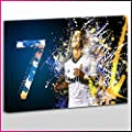 S509 Cristano Ronaldo 7 Real Madrid Blue White Orange Splash Unique Framed Ready To Hang Canvas, Sport, Pop Street, Wall Art, Picture
