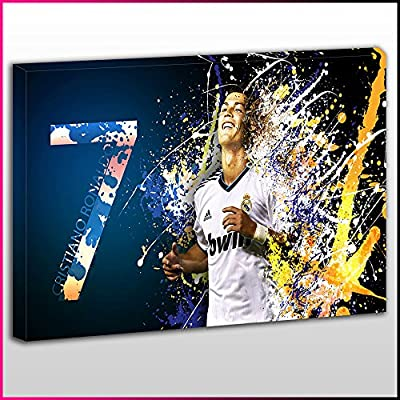 S509 Cristano Ronaldo 7 Real Madrid Blue White Orange Splash Unique Framed Ready To Hang Canvas, Sport, Pop Street, Wall Art, Picture