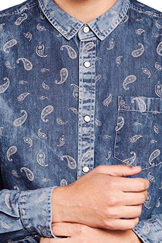 Herren Brave Soul Daryl Gewaschener Denim Paisleymuster Hemd Gewaschen Dunkel Jeans - Blau