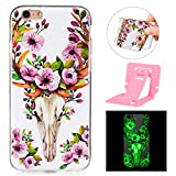 "iphone 6 (4.7 inch) Luminous Case,IMD Tech Colourful Painting Transparent iphone 6S Cover Cases, Ekakashop Ultra Slim-fit Noctilucent With Colourful Pattern Soft Protective Case TPU Silicone Gel Crystal Clear Soft Rubber Protective Case Back Cover Bumper for iphone 6 6S 4.7"" + 1x Free Ekakashop Kickstand (Color Random) -- Sika Deer"