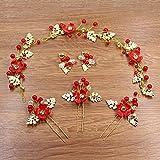 XPY&DGX Accessori Per Capelli Da Sposa E Da Sposa,Cinese dolce abito da sposa brindisi abito nuziale testa di capelli rossi fiori fatti a mano di acconciatura di perla, 001