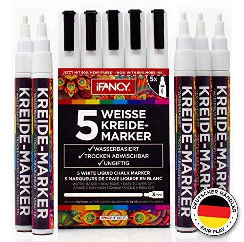 iFancy Premium Kreidestifte 5er-Set Weiß - 3mm Rundspitze - 50% MEHR TINTE! - Trocken Abwischbar Ungiftig & Staubfrei - Fensterstifte Kreidemarker