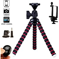 Flexible Tripod (10 inch) for Mobile Phone, Small Cameras and Gopro with Free Mobile Holder, Sports Cam Holder and Bluetooth Remote Shutter