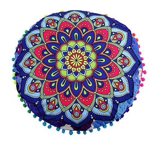 VJGOAL Moda Casual India Mandala Piso Funda de Almohada Redondo Bohemio Jacquard...