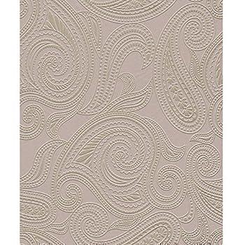 Barbara becker rasch tapete paisley motiv muster struktur for Tapete lila silber