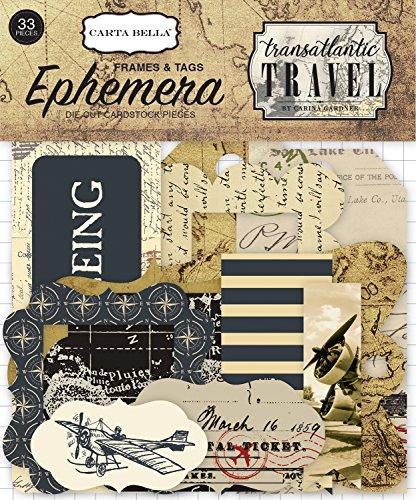 Carta Bella Papier Transatlantischen Reise Rahmen und Tags Ephemera, Tan, schwarz