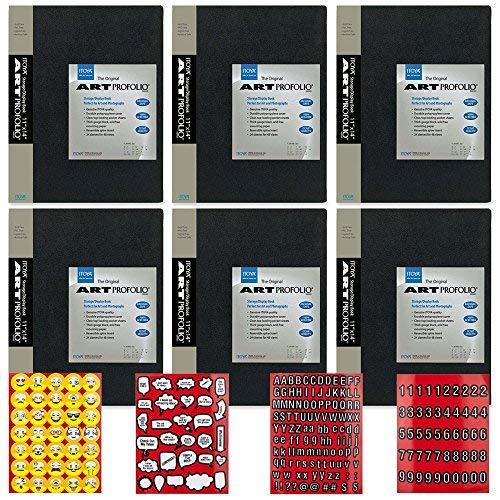 Itoya Profolio Serie 27,9x 35,6cm Art Präsentation Portfolio (6Stück) + Scrapbooking Aufkleber 4Seiten aus Emojis, Zitate, Buchstaben & Zahlen-Super Value Kit -