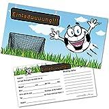 Postkartenschmiede 12 Fussball Einladungskarten Kindergeburtstag Junge – Einladungen Geburtstag für Fussballparty mit Umschlägen