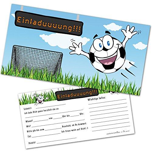 Postkartenschmiede 12 Fussball Einladungskarten Geburtstag Kinder Jungen, Kindergeburtstag Junge Fussball-Party, Einladungen Geburtstag Jungs, Fußball-Party mit Umschlägen