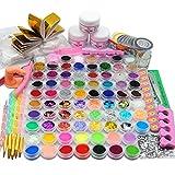 Coscelia Acryl Nagelset Acrylic Nageldesign Kits Acryl Starterset 54tlg Pailette Acrylpulver Dekorationset