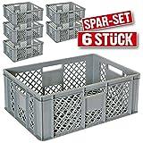 6x Eurobehälter durchbrochen / Stapelkorb, Industriequalität, lebensmittelecht, 600 x 400 x 240 mm, grau