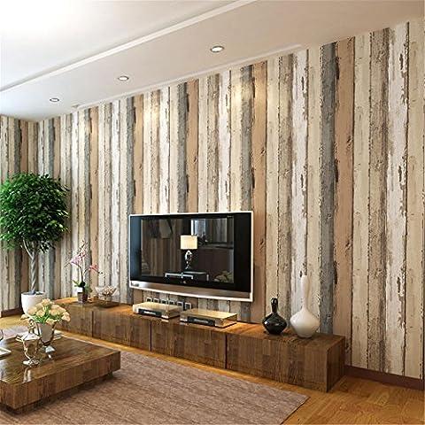 LDMB Simple Retro Mediterranean Imitation Wood Grain Nonwoven Fabric Wallpapers Bedroom Living Room Restaurant TV Background Non-Self Adhesive Wallpaper Roll 0.53m*10m=5.3? , 69203 log color