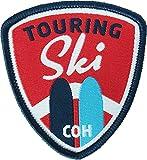 2 x TourenSki Abzeichen gewebt 55 x 60 mm / Skitouren Touring Ski Skilaufen Langlauf Ski-Wandern Pisten-Gehen / Aufnäher Aufbügler Sticker Patch / Winter Wintersport Karte Führer alpin Alpen Route