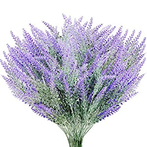Yaomiao 10 Paquetes de Flores de Lavanda Artificial para Decoración de Jardín Oficiana Hogar Boda