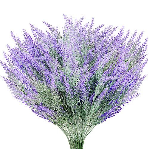 Yaomiao 10 Bündel Künstliche Lavendel Blumen Bouquet Pflanze Lila Künstliche für Hochzeit Haus Dekor Büro Garten Terrasse Dekoration (Haus Und Garten Dekor)