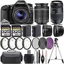 Canon EOS 80D DSLR Camera + Canon 18-55mm Is STM Lens + Tamron 70-300mm Macro Lens + 0.43X Wide Angle Lens + 2.2X Telephoto Lens + 64GB Storage + 4PC Macro Kit + UV-CPL-FLD - International Version
