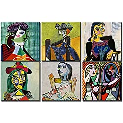 time4art Pablo Picasso Portrait Print Canvas 6 Bild 6 x 30x30cm Cubism Surrealism auf Keilrahmen Leinwand