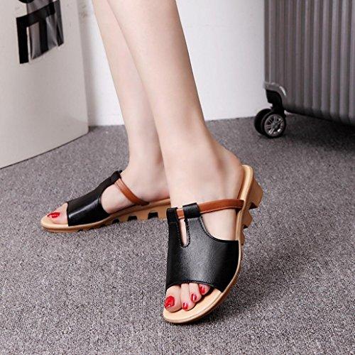 Bescita Cut Out Sandalen Fashion Solid Sommerstrand gleitet Hausschuhe Damenschuhe Schwarz