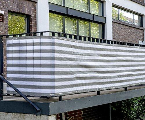 Balkon Sichtschutz 600x75cm Balkon Umspannung Windschutz mit Ösen und Kordel (anthrazit/weiß)