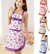 Zollyss 1 PCS Womens Kitchen Apron Restaurant Bib Cooking Aprons Pockets Printed Bowknot Apron