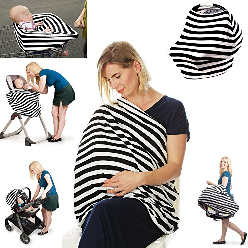 Premium 4 in 1 - Stretchy Car Seat Cover, Baby Carseat Canopy,Privacy Nursing Cover / Infinity Nursing Scarf, Shopping Cart Grocery Trolley Cover,High Chair Cover,Unisex Classic Design, Perfect Gift!