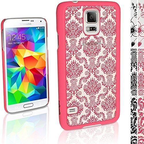"""igadgitz """"3D Designer Collection'' Pink Damask Muster Hart Tasche Hülle für Samsung Galaxy S5 SV SM-G900 + Display Schutzfolie"""