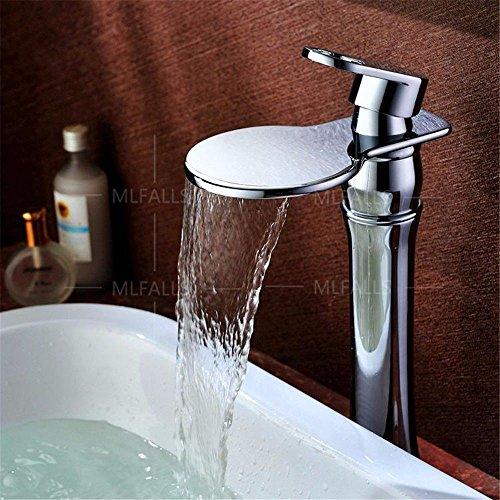 YSRBath Moderne Waschbecken Waschtischarmatur Antik Bronze Silber Hoher Wasserfall Einzigen Griff Keramik Ventil Kaltes Wasser Mischbatterie Bad Küche Wasserhahn Badarmatur