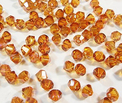 40 Topas Gold AB Böhmische Glasperlen 4mm Tschechische Kristall Perlen Doppelkegel Bicone Glas Beads Crystal - Gläser Kristall Tschechische