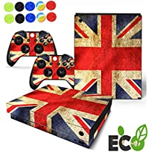 Xbox One X Pegatina Decals Morbuy Skin Adhesivo de Vinilo Stickers Cover Estilo Personal Protector Console and 2 Controllers+ 10pc Silicona Thumb Grips (Bandera clásica B)