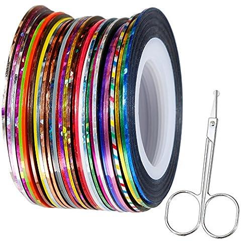 Faburo 32 PCS Nail Sticker Fil Bandes Striping Tape Autocollant Manucure Ongle Nail Art Tips 20m + Petit ciseau