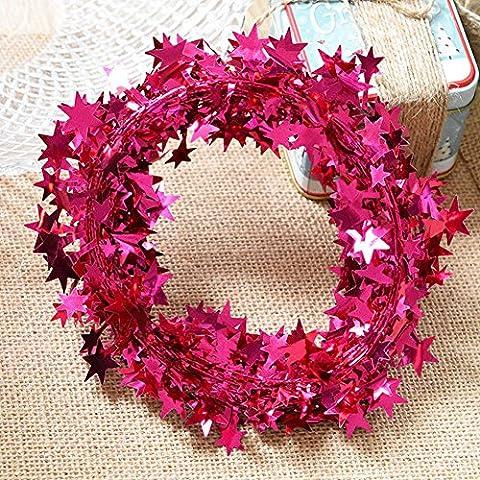 Shsyue® Weihnachtsbaum Sterne Girlande Anhänger, Weihnachtsbaum Schmuck Weihnachten Dekoration 7.5m Eisendraht (Roserot)