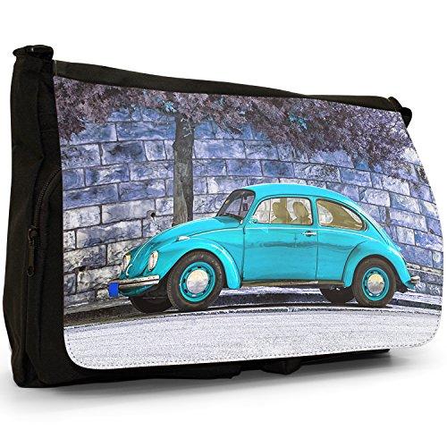 Old Classic, a forma di Maggiolino, colore: nero, Borsa Messenger-Borsa a tracolla in tela, borsa per Laptop, scuola Nero (Old Classic Turquoise Beetle Car)
