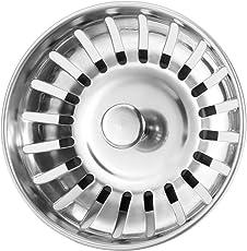 Anpro Edelstahl Küchenspüle Sieb Abflusssieb Küchenspüle Stopper Siebkörbchen mit Zapfen (20 Schlitze) für Stopfenbedienung 78mm