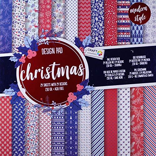 Crafts Scrapbooking Designblock [30,5 cm x 30,5 cm] - Motivblock zu Weihnachten - Bastelpapier 230g - 24 Blätter mit 24 Motiven - säurefreies Papier - DIY Karten- und Bastelmaterial -