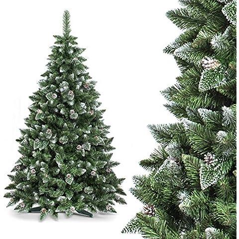FAIRYTREES Árbol de Navidad artificial modelo PINO, blanco natural nevado, material PVC, piñas auténticas, incluye soporte, 150 cm,