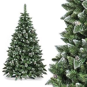 FAIRYTREES Albero di Natale artificiale PINO, Bianco naturale ricoperto di neve, Materiale PVC, vere pigne di abete, incl. supporto, 180cm, FT03-180