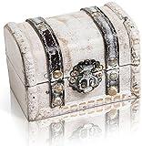 CHICCIE Weiße Vintage Holztruhe - 10cm - Box Schatztruhe Schatzkiste 10cm Antik Geschenkdose 10cm x 7cm Schatzkiste