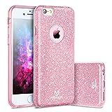 iPhone 7 Plus Cover, TYJTECH [Bling Bling Glitter di lusso] Ultra-sottile stile ibrido semi-trasparente per i livelli a 3 strati per Apple iPhone 7 Plus 5.5 (Scintillante Rosa)