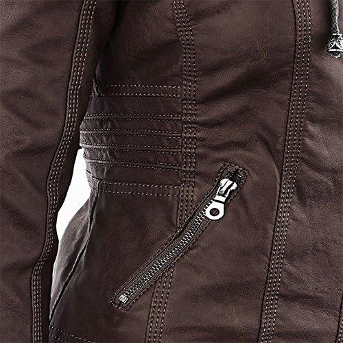 LooBoo Donna Giubbotto di Pelle Slim Chiodo Giacca Pelle Biker Giacchetto Giacca in Pelle Moto Giacchetto PU Zip Hooded Jacket Caffè