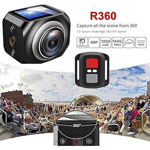 MaMaison007 360° panoramico Mini sport azione fotocamera esterna HD videocamera con telecomando WIFI Wireless DV Logger 1,5 pollici schermo - Azione Occhiali Sportivi