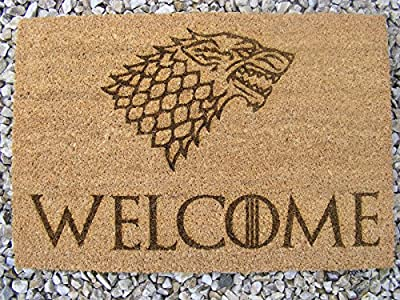 GAME OF THRONES WELCOME DOOR MAT 60x40 cm DIRE WOLF COIR DOORMAT OUTDOOR INDOOR FLOOR WINTER ENTRANCE RUG ENGRAVED NOVELTY BIRTHDAY PRESENT HOUSE WARMING GIFT LASER ENGRAVED by FASTCRAFT UK