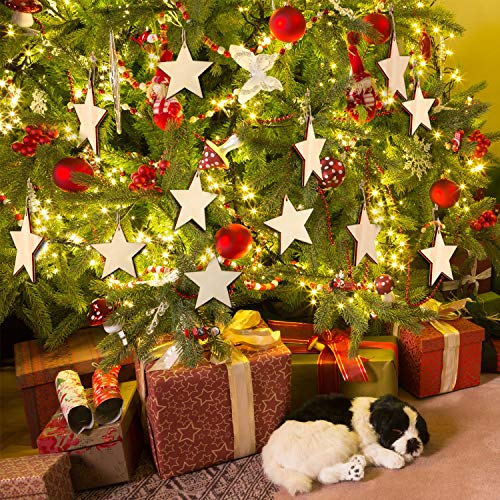 60 Pieces Natural Wooden Star Cutouts Shape Wooden Star Embellishments and 60 Pieces Natural Twine for Christmas Home Party Decoration