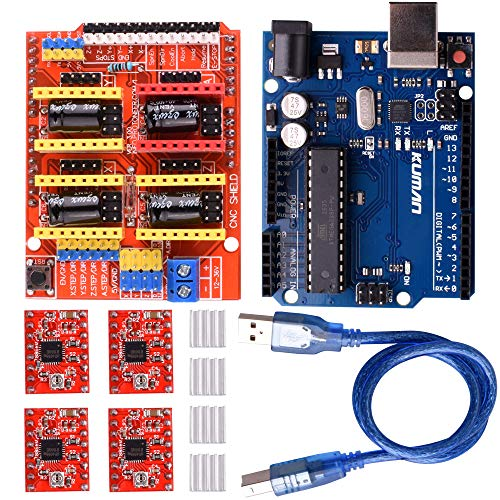 kuman CNC Engraver Shield V3.0 Expansion Board +4pcs A4988 Stepper Motor Driver with Heatsink Kits+ R3 Board Kompatibel mit Arduino IDE K75