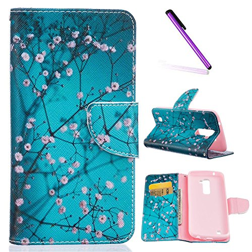 EMAXELERS LG K10 Hülle Schutzhülle Ledertasche Handyhülle Standfunktion Handschlaufe Etui Hülle Cover Case für LG K10/ LG Tribute 5 mit A Eingabestift,Blue Apricot tree